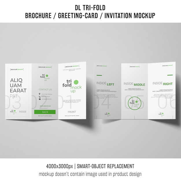 Trifold brochure or invitation mockup on gray background Free Psd