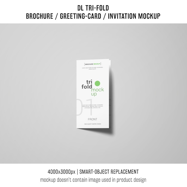 Trifold brochure or invitation mockup on grey background Free Psd