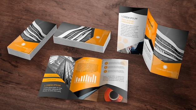 Trifold brochure mockup collection Free Psd