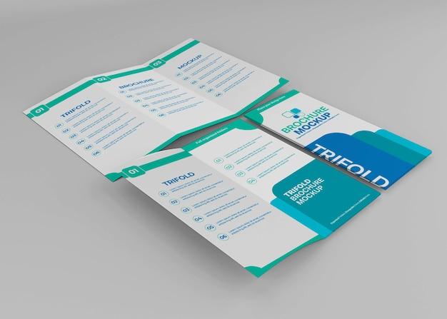 分離された三つ折りパンフレットのモックアップデザイン Premium Psd