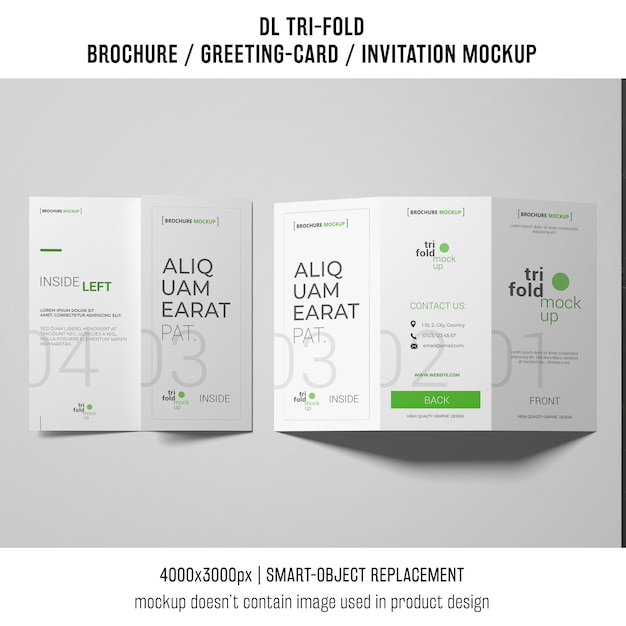 trifold brochure or invitation mockup on white background psd file