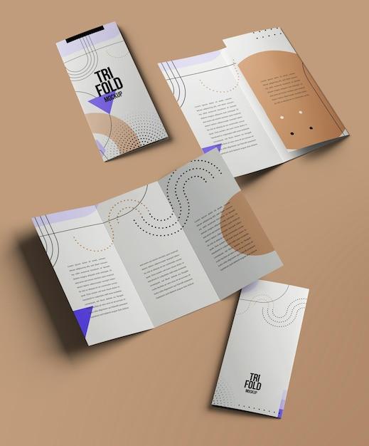 Брошюра trifold или изолированные макеты приглашения Premium Psd