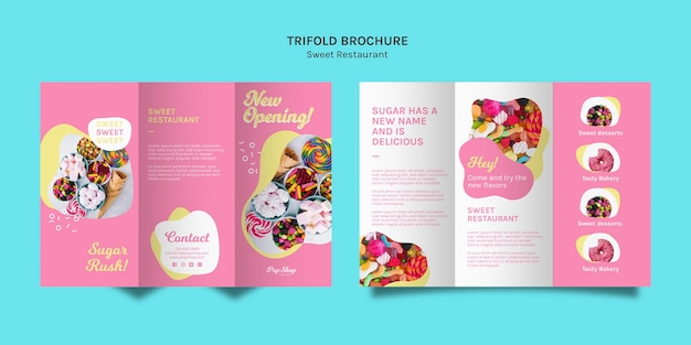 Trifold brochure in pink tones for candy store Free Psd