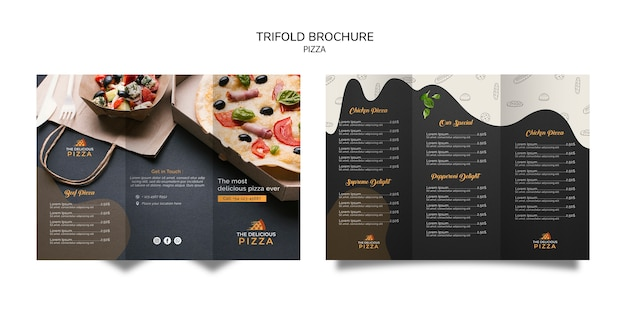 Trifold brochure pizza Free Psd