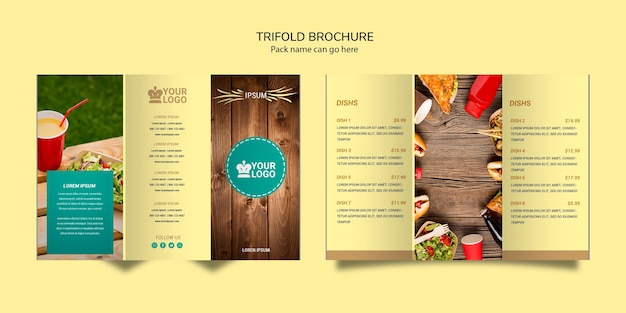 Trifold brochure restaurant food menu Free Psd