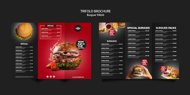 Trifold brochure template for burger restaurant Free Psd