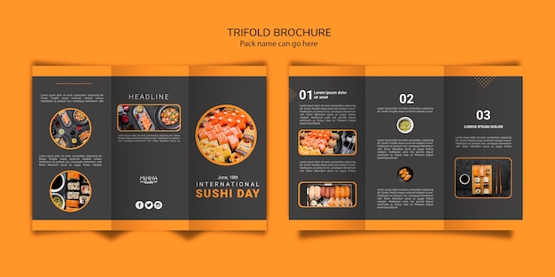 Trifold brochure template for international sushi day Free Psd