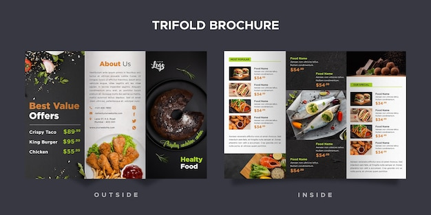 Trifold brochure template for restaurant Free Psd