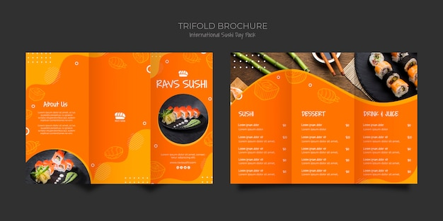 Trifold brochure template for sushi restaurant Free Psd