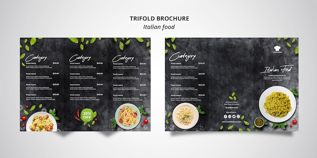 Trifold brochure template for traditional italian food restaurant Free Psd
