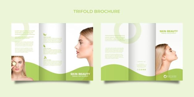 Trifold brochure template with beauty concept Free Psd