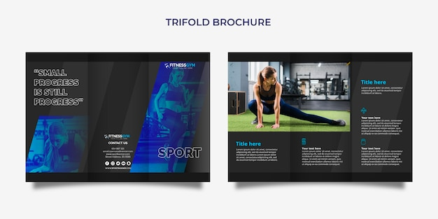 Trifold brochure template with sports concept Free Psd