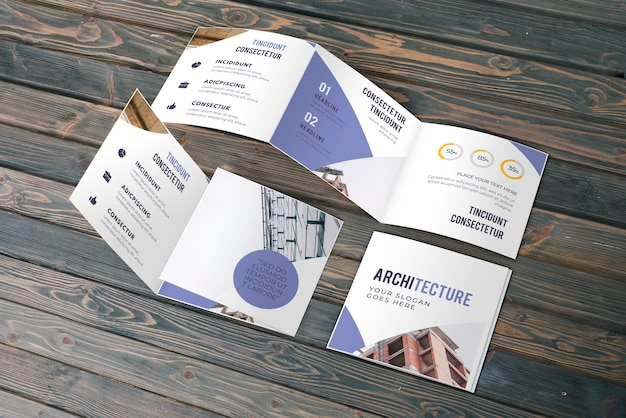 Trifold business brochure mockup Free Psd