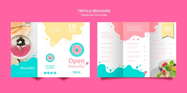 Trifold smoothie brochures set template Free Psd