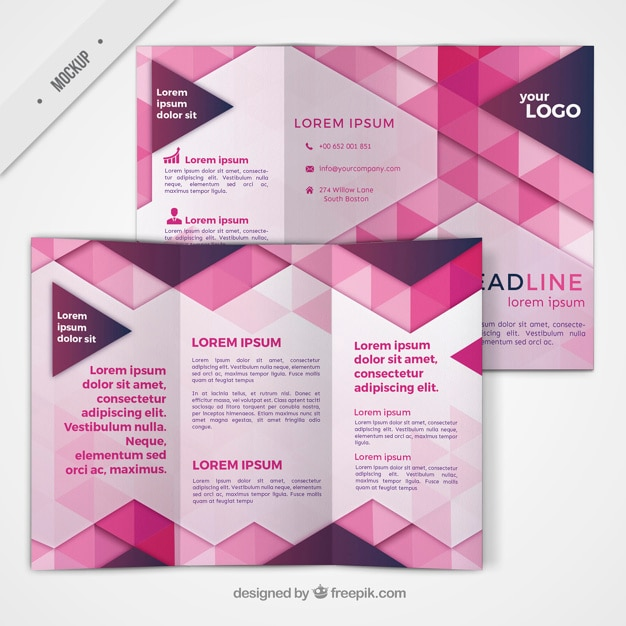 Trifold with geometric shapes in pink color Free Psd