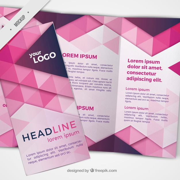 Trifold with pink triangles Free Psd