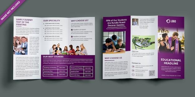 Образовательная брошюра trifold Premium Psd