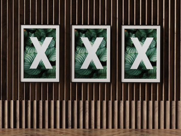 Triple poster frame on wall Premium Psd