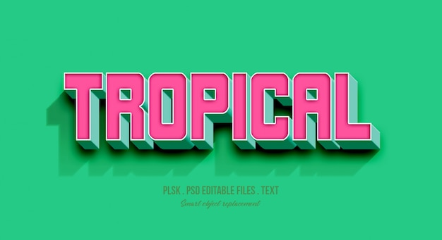 Tropical 3d text style effect mockup Premium Psd