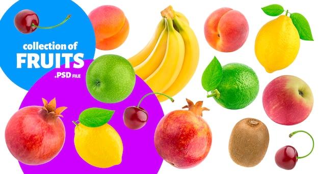 Коллекция тропических фруктов, баннер свежих продуктов Premium Psd