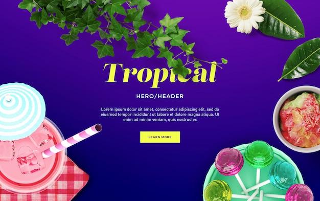 Tropical hero header custom scene Premium Psd
