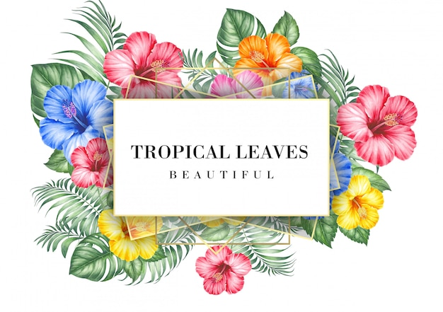 Tropical invitation card with hibiscus flowers Premium Psd