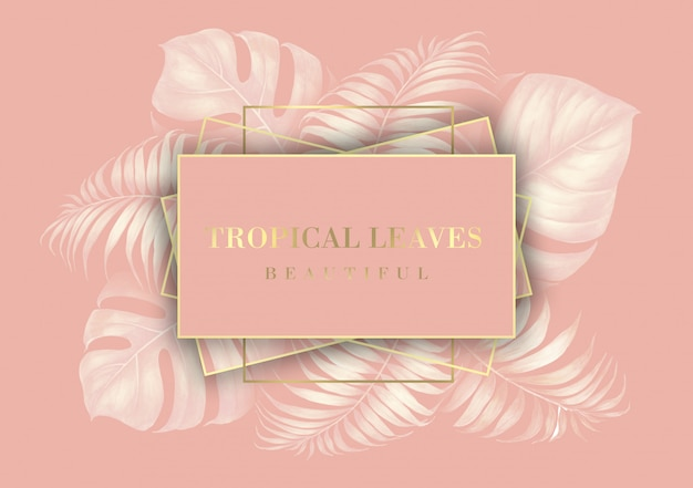 Tropical palm leaves border for invitation card. Premium Psd