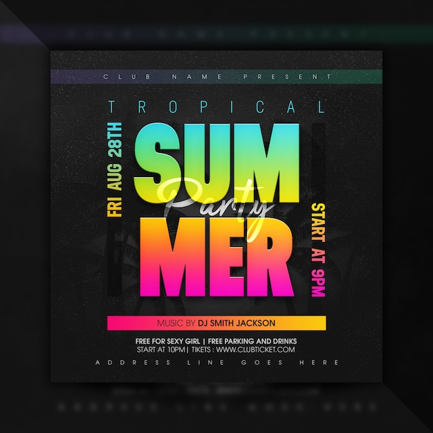Tropical summer party flyer or poster social media banner Premium Psd