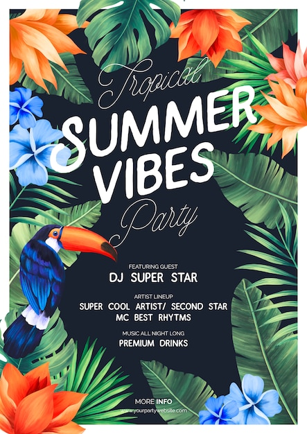 Tropical summer vibes party poster with exotic nature Free Psd