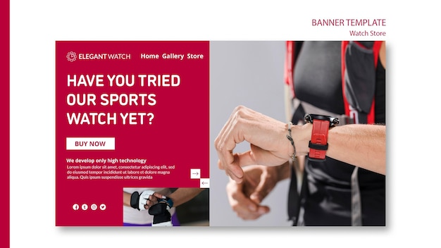 Try the sport watches banner template Free Psd