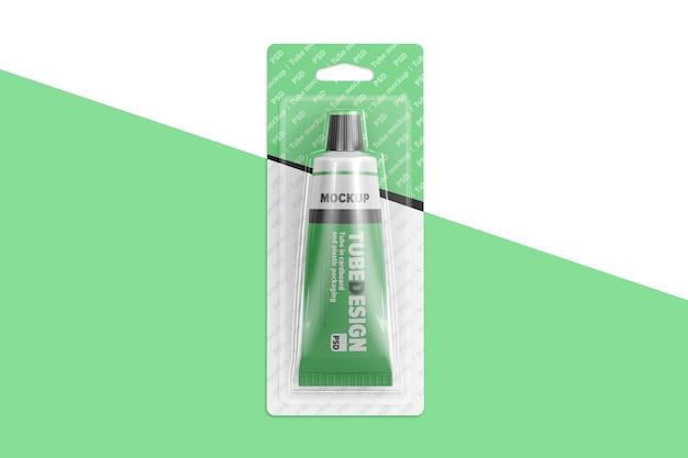 Tube in cardboard and plastic packaging mockup Premium Psd