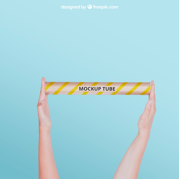 Tube mockup with arms Free Psd