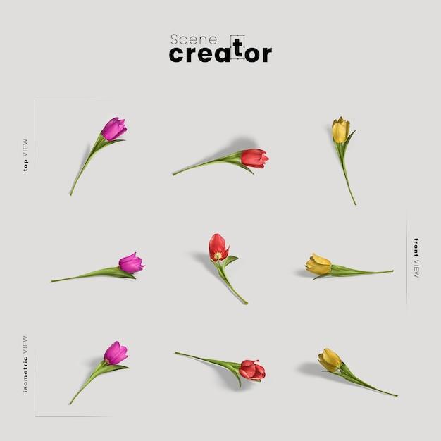 春のシーンクリエイターのチューリップの花ビュー 無料 Psd