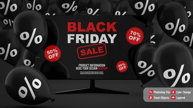 黒い風船と黒い金曜日のテレビのモックアップ Premium Psd