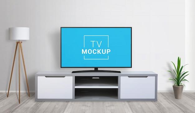 Tv mockup in living room. 3d render concept Premium Psd