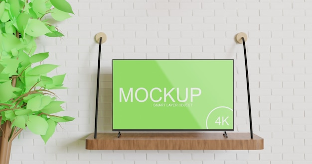 Tv mockup standing on the wooden wall table Premium Psd