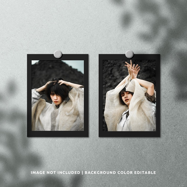 Twin portrait black paper photo frame mockup with shadow overlay Premium Psd