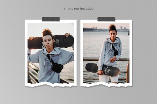 Twin realistic torn paper photo frame mockup design Premium Psd