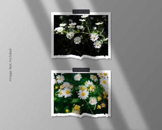 Twin square torn paper frame photo mockup design Premium Psd