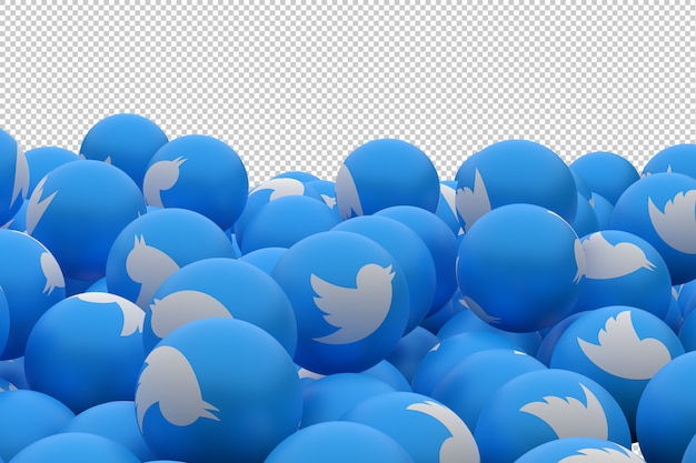 Twitter icon in blue spheres Premium Psd