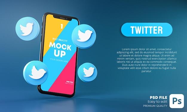 Twitter icons around smartphone app mockup 3d Premium Psd