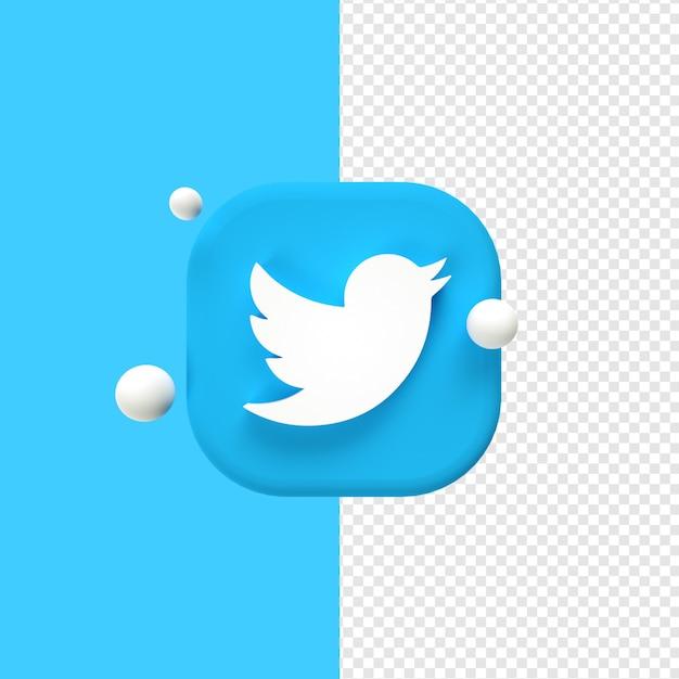 Twitter logo icon 3d rendering Premium Psd