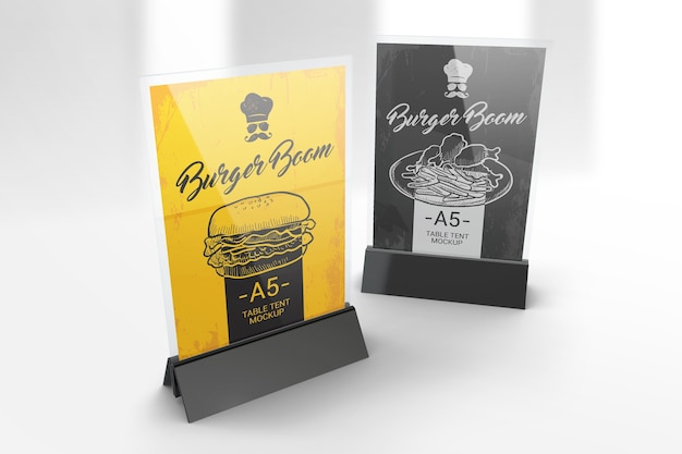 Two a5 table tent stands mockup Premium Psd