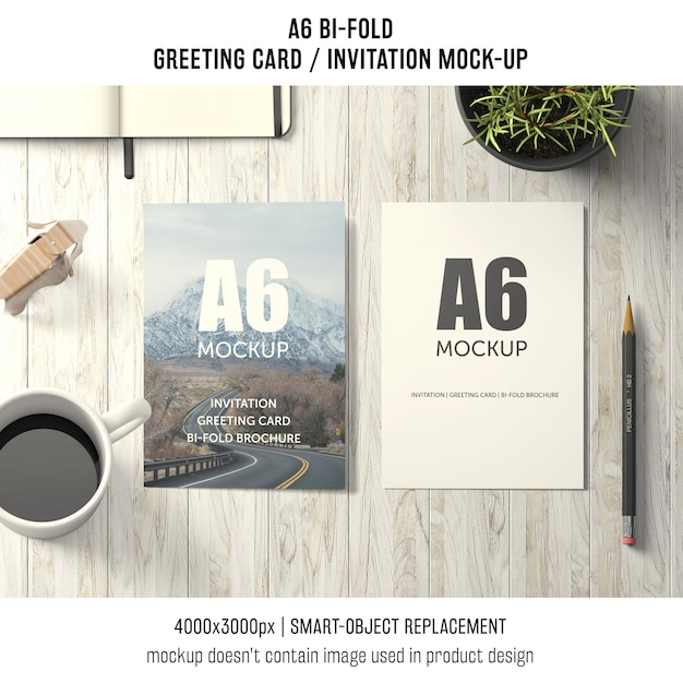 two a6 bi fold greeting card mockups psd file free download