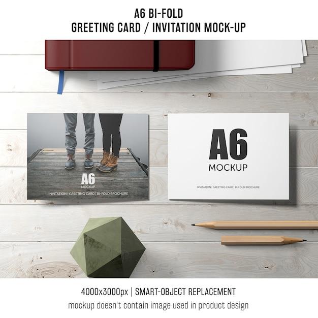 Two A6 Bi Fold Invitation Card Mockups Psd File Free Download