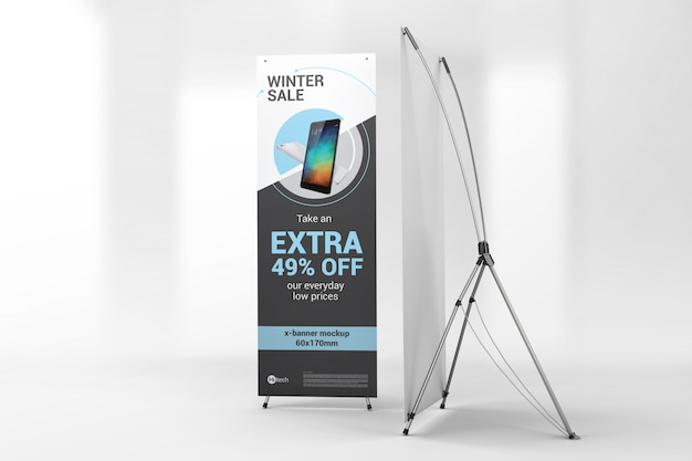Two advertising x-banners mockup PSD Mockup - Free PSD