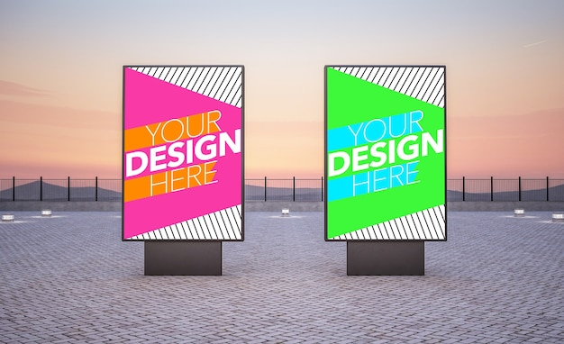 Two billboards for commercial ads mock up Premium Psd