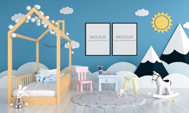 Две пустые фоторамки для макета в детской спальне Premium Psd