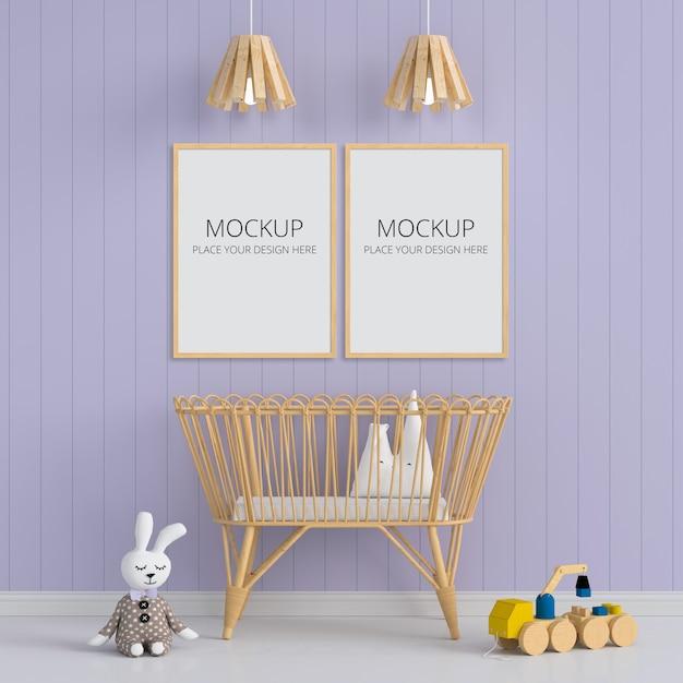 Две пустые фоторамки для макета в детской комнате Premium Psd