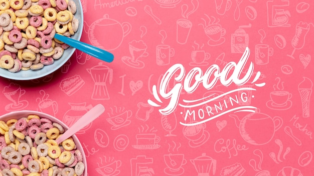 Two bowls with cereals and spoons on table Free Psd